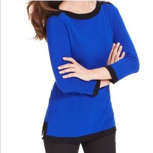 NWT CABLE & GAUGE BLUE COLORBLOCK SWEATER